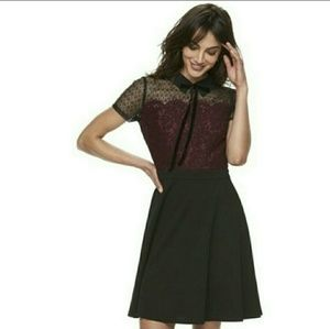 ELLE lace dress with velvet bow tie at collar